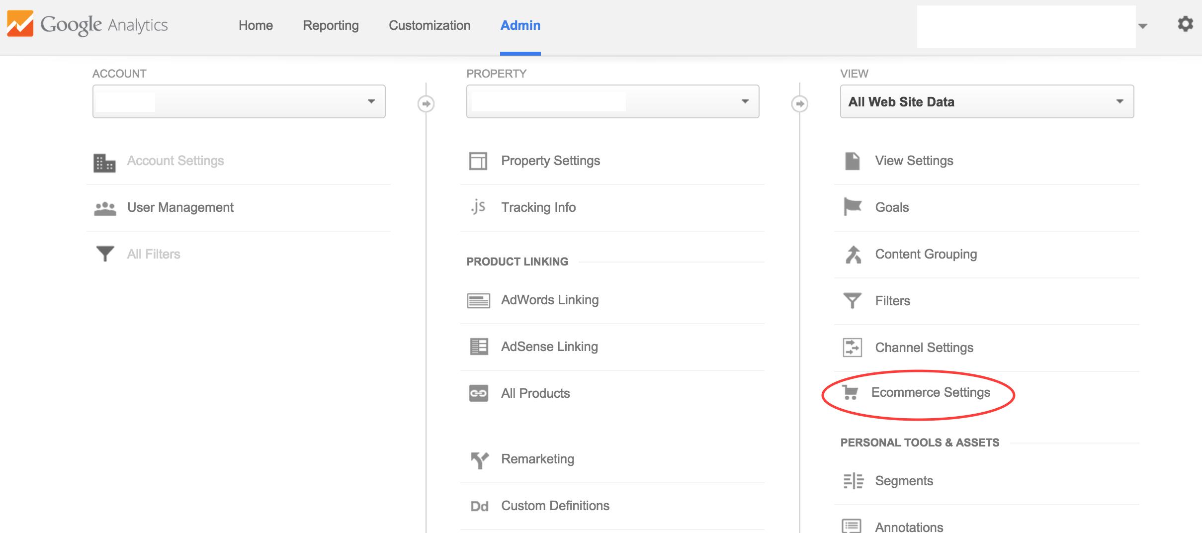 Mở chức năng E-commerce trong Google Analytics