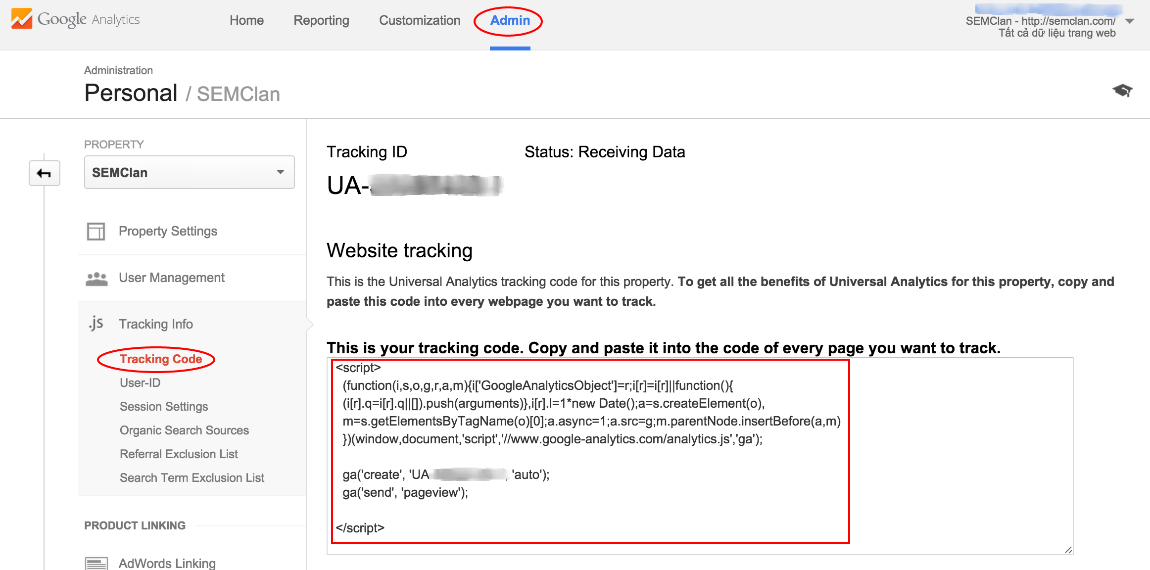 Lấy Tracking Code trong Google Analytics