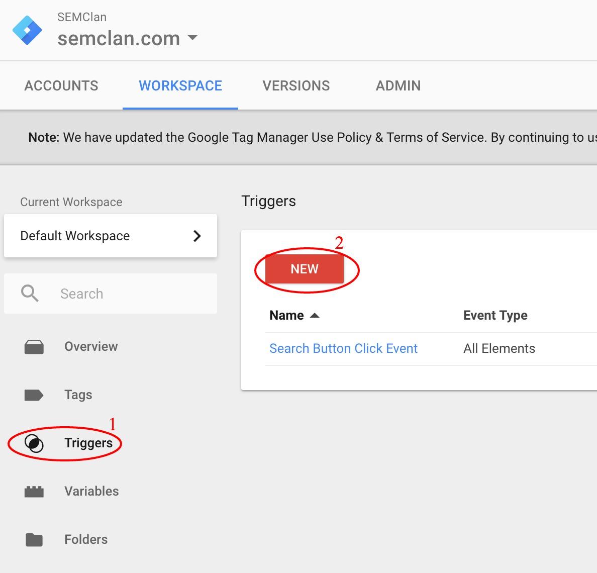 Tạo một trigger mới trong Google Tag Manager